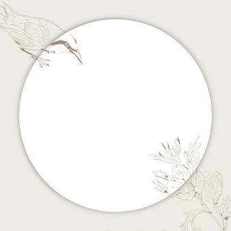 Anúncios sociais de pássaros redondos e moldura floral