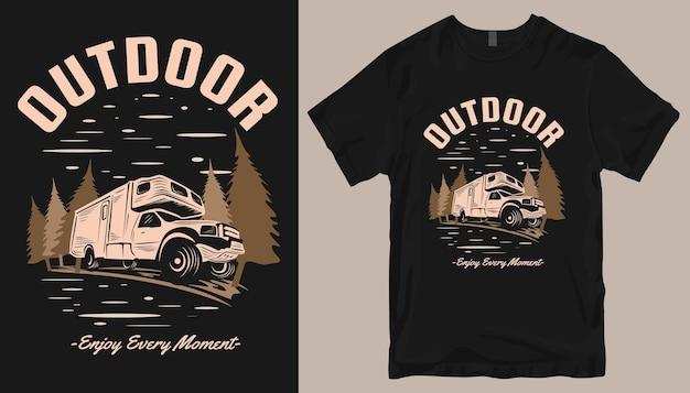Ao ar livre, aproveite cada momento, design de t-shirt de carro