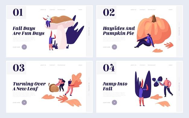 Ao ar livre na temporada de outono conjunto de páginas de destino do site