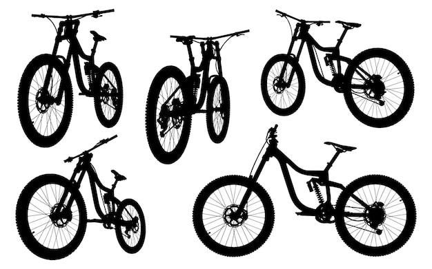 Ap002mtb coleção de silhuetas de mountain bike