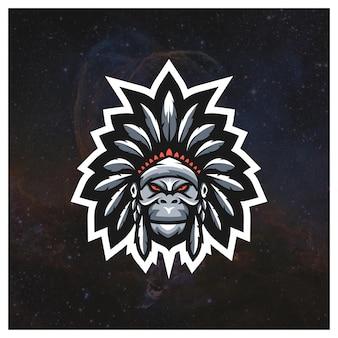 Apache gorilla e-sport logo conceito