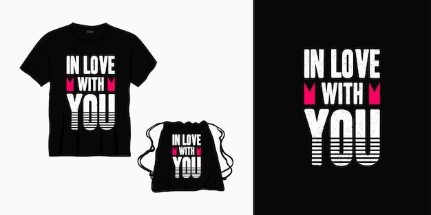 Apaixonado por você tipografia letras design para camiseta, bolsa ou mercadoria