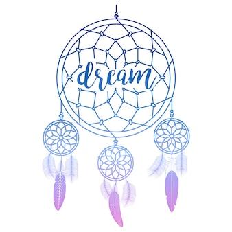Apanhador de sonhos com caligrafia