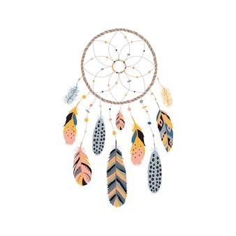 Apanhador de sonhos com penas, joias e pedras coloridas.