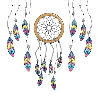 Apanhador de sonhos de beleza com design de penas