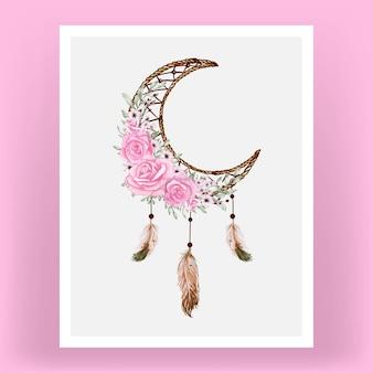 Apanhador de sonhos em aquarela com flores rosas e penas