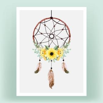 Apanhador de sonhos em aquarela com girassol e penas