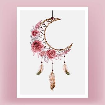 Apanhador de sonhos em aquarela rosa cor de vinho e penas