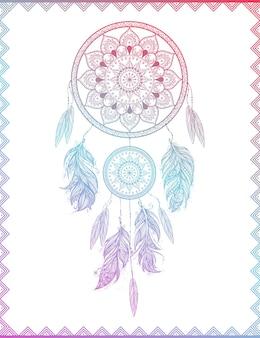 Apanhador de sonhos em quadro com gradiente, arte de ilustração vetorial isolada