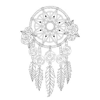 Apanhador de sonhos indiano em estilo zentangle