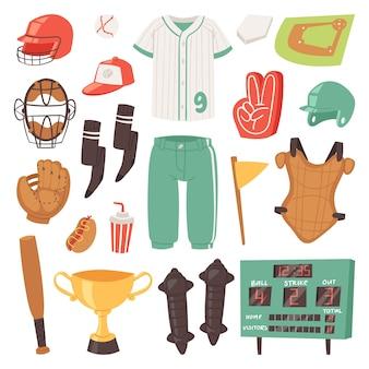 Apanhadores de beisebol roupas esportivas e batedores de basebol ou bola para competição