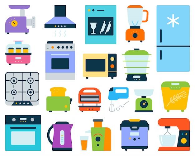 Aparelho de cozinha, conjunto de equipamentos eletrônicos plana.