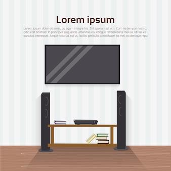 Aparelho de televisão conduzido realístico na parede no projeto de interiores home moderno da sala de visitas