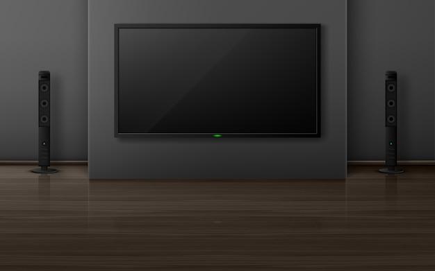 Aparelho de tv com dinâmica no interior da sala, sistema de home theater com televisão na parede, apartamento vazio com piso de madeira. visualização de design de apartamento, ilustração 3d realista