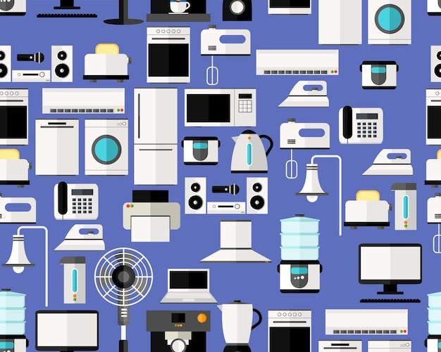 Aparelho eletrodoméstico sem emenda liso do teste padrão da textura do vetor.