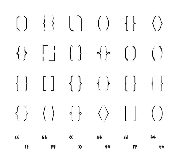 Aparelho encaracolado. sinais escolares de parênteses imprimem gráficos de símbolos de vetor de colchetes. parênteses de colchete, ilustração de caractere de tipo gráfico