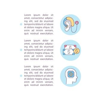 Aparelhos auditivos custam ícones de linha de conceito com texto