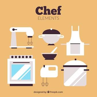 Aparelhos de cozinha em design plano
