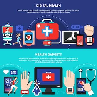 Aparelhos de saúde digital banners planos