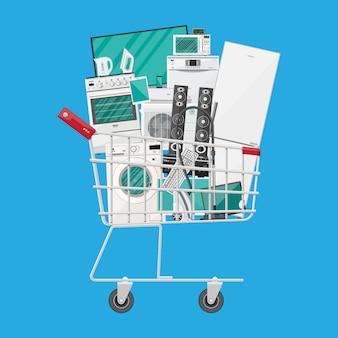 Aparelhos domésticos no carrinho de compras