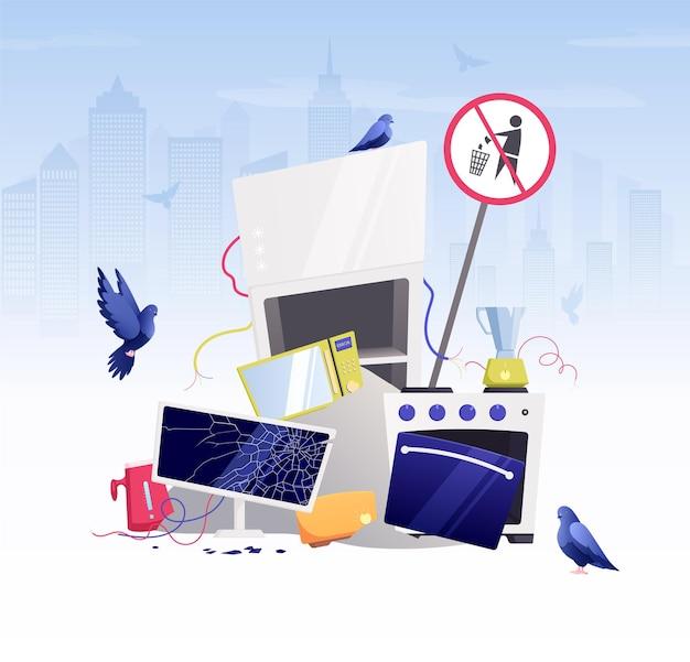 Aparelhos eletrodomésticos quebrados desperdiçam composição plana com montanha de lixo de coisas quebradas