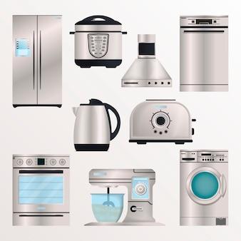 Aparelhos eletrônicos de cozinha isolar conjunto
