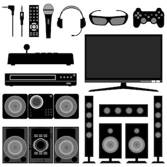 Aparelhos eletrônicos de sistema de rádio e televisão.
