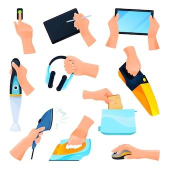 Aparelhos ou dispositivos elétricos, conjunto de ícones de mãos. equipamento vetorial para pc, culinária e trabalho doméstico