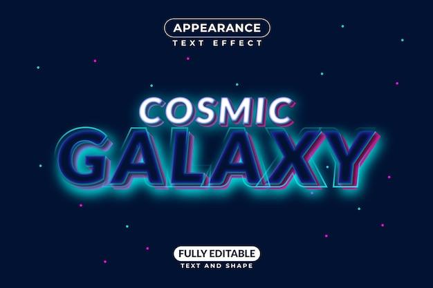 Aparência de estilo de efeito de texto no espaço da galáxia cósmica
