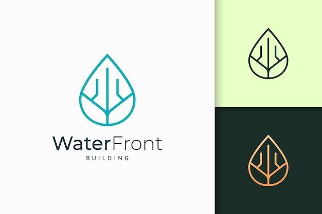 Apartamento à beira-mar ou logotipo da propriedade em linha simples