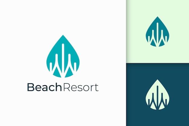 Apartamento à beira-mar ou logotipo de propriedade de forma moderna