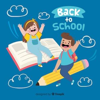 Apartamento, crianças, volta, para, escola, cobrança Vetor Premium