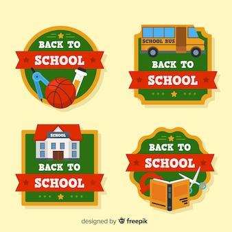 Apartamento de volta à coleção de distintivo de escola