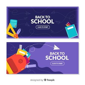 Apartamento de volta para banners de escola