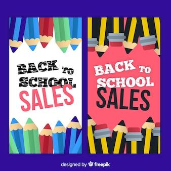 Apartamento de volta para banners de vendas de escola