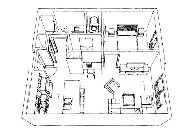 Apartamento elegante design de interiores skech.