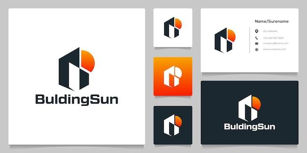 Apartamento em construção com design de logotipo do pôr do sol e cartão de visita