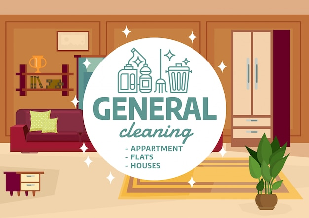 Apartamento geral de limpeza
