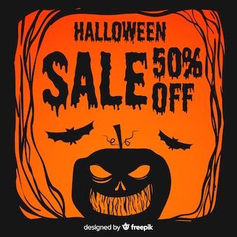 Apartamento halloween venda com abóbora vermelha e preta