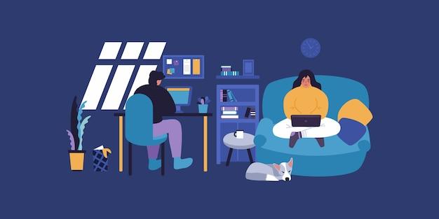 Apartamento home office. família de freelancers na área de trabalho. o homem trabalha na mesa pc. mulher trabalha com o laptop.