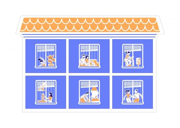 Apartamento janelas ilustração silhueta plana