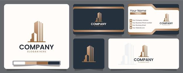 Apartamento moderno, design de logotipo e cartão de visita