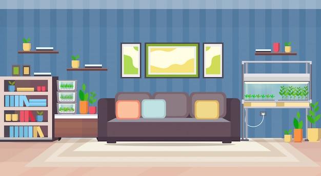Apartamento moderno sala interior com terrário eletrônico casa recipiente de vidro casa plantas crescendo conceito plana horizontal