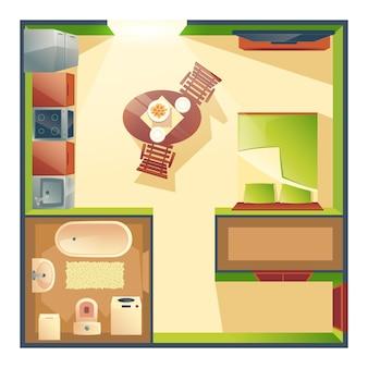 Apartamento pequeno com cozinha, sala de estar e quarto