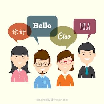 Apartamento pessoas com bolhas do discurso em diferentes idiomas