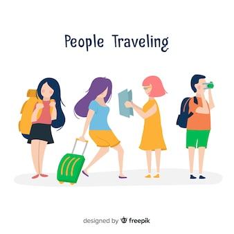 Apartamento pessoas viajando coleção