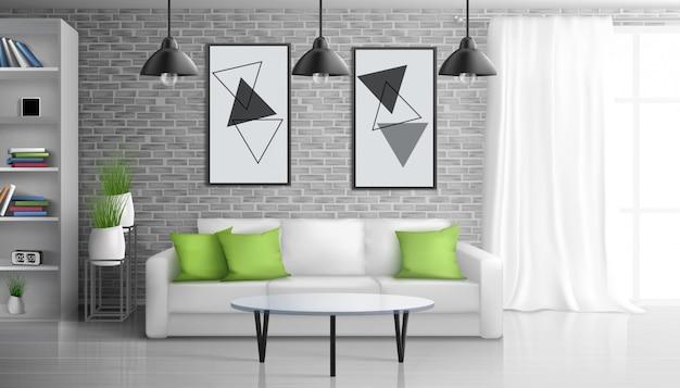 Apartamento sala de estar, sala de estar de escritório aberto interior realista com mesa de café perto do sofá, pinturas na parede de tijolo, estantes, pendurado no teto ilustração de lâmpadas vintage