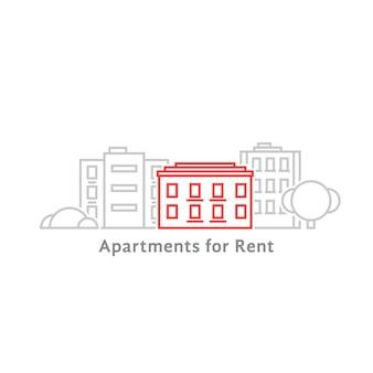 Apartamentos de linha fina para alugar. conceito de etiqueta de habitação, panorama de casa geminada, residência, horizonte de escritório, hotel. ilustração em vetor design gráfico moderno tendência de estilo plana lineart no fundo branco