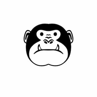 Ape head logo tattoo design stencil ilustração em vetor
