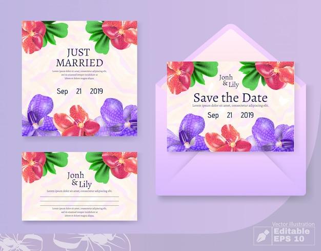 Apenas casado e salvar cartões de data e conjunto de envelope